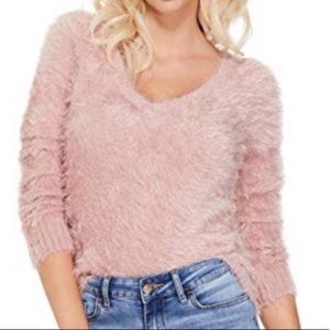 Guess Pink Fuzzy V Neck Long Sleeve Sweater
